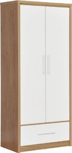 Seville 2 Door 1 Drawer Wardrobe WHITE